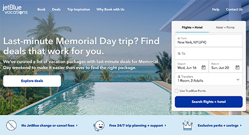 JetBlue vacations payment plans